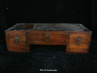 36cm Chinese Old Leaflet Sandalwood Hand carved Small Table Small Desk HFHK