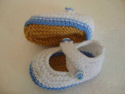 Hand Knitted Baby Booties - White/Blue Paw Buttons - 0-3 Months - BNWT