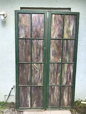 Pair of Stained Glass Wood Doors,Tiffany Style Glass for Library or Studios apt