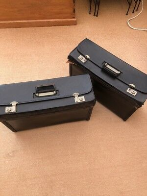 Topper of Huntingdon - Pair of Antique Black Leather Cases