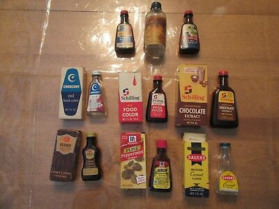 VTG glass extract bottles lot 9 Sauer's schillings mccormick food coloring boxes