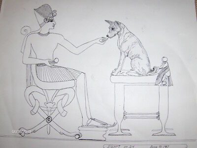 Basenjis Original Drawing by Andie 1987 Egypt No.24 Signed one of a kind.
