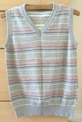 Grey striped boys sleeveless jumper, good condition, age 11-12, Marks & Spencer