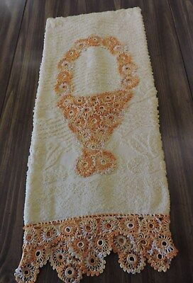 Vintage Crochet Edge Bath Towel .beautiful  Basket & Crochet Edge.unused...