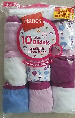 New in Package HANES Girl size 14 Tagless 10 pc BIKINI UNDERWEAR  Plain & Print