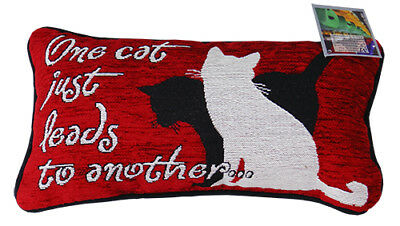 "Cat Lovers Pillow: ""One Cat Leads to Another"""