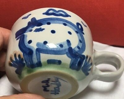 MA Hadley sell cup/mug with handle - pig design, inside:THE END pottery handmade
