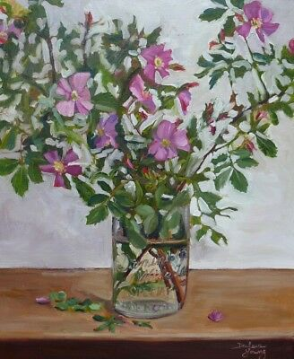Wild Roses in Mason Jar, 16x20, Oil on Canvas, Darlene Young Canadian Artist
