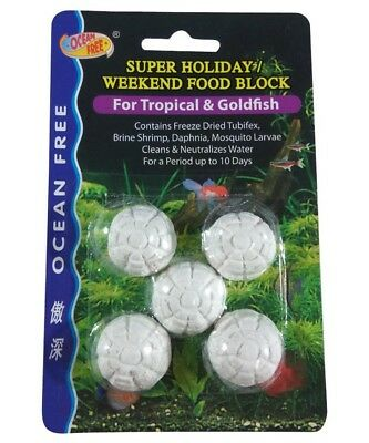 OCEAN FREE Super Holiday Weekend Fish Food Block for Tropical & Goldfish 10 days