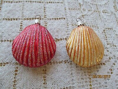 Christopher Radko 1997 Glass Ornaments 2 Sea Shells Clam Shape Red Gold 3""