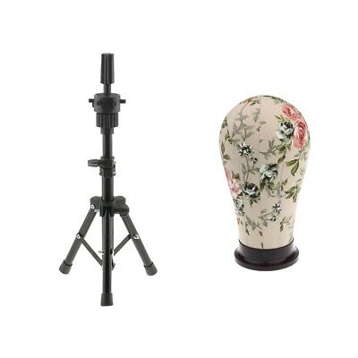 21'' Useful Cork Canvas Block Wig Making Mannequin Head and Tripod Stand Set