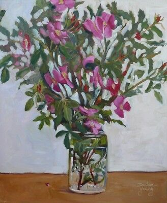 Wild Roses in Mason Jar, Aprox 16x20, oil, Darlene Young Canadian Artist