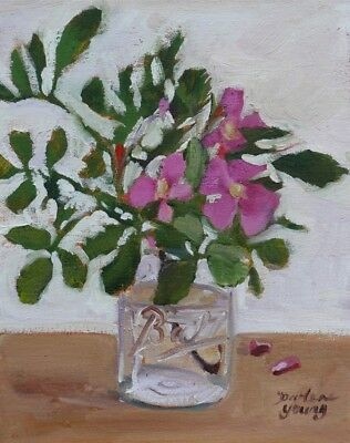 Wild Roses in a Ball Jar, 8x10, oil, Darlene Young Canadian Artist