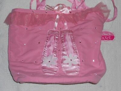 Beautiful Girls Soft Sequined Ruffled Satin Pink Ballet Bag Tote NEW WITH TAGS
