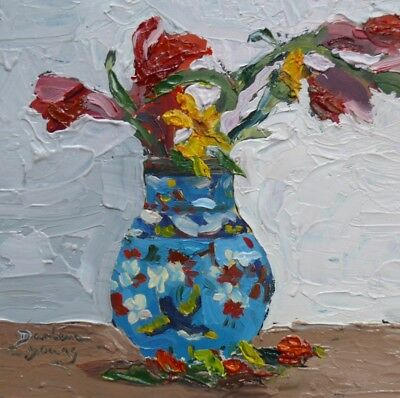 Red Roses in Bluebird Vase, 6x6, oil on board, Darlene Young Canadian Artist