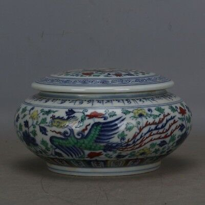 """7.2"""" Old China Antique Blue White Doucai Porcelain Candy Box Container Jar Jug"""
