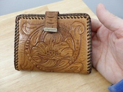 Vintage Tooled Leather Wallet. Floral women's Fair cond.