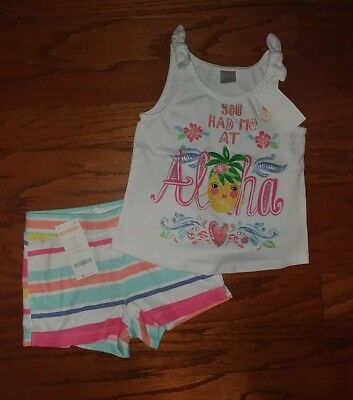 NWT Gymboree Girls Summer Tank Top Outfit Size 5-6 Aloha Pineapple Floral