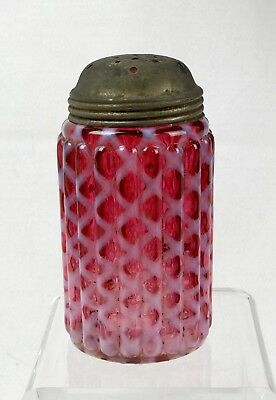 Victorian EAPG Cranberry Opalescent Glass Ribbed Latice Sugar Shaker