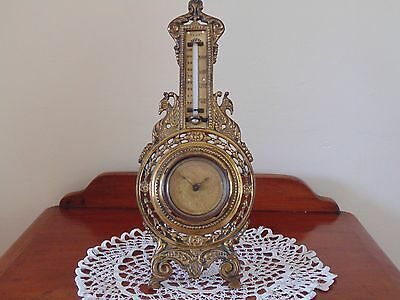 Antique Victorian Brass Desktop Clock & Thermometer