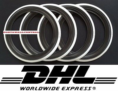 "4x13"" Black White Wall Portawall tyre insert trim set ATLAS"