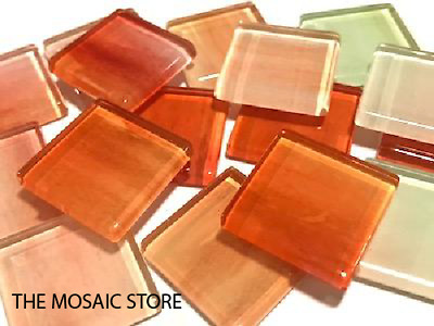 Orange Watercolour Glass Mosaic Tiles 2.5cm No. 16 - Mosaic Tiles Supplies Craft