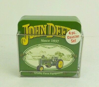 John Deere Tractor Coasters Set of 4 in Holder - Sealed Never Opened!!