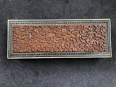 Antique Anglo Indian Carved Sandalwood And Sadeli Box1890.