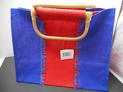 Red blue canvas type Jute Tote Bag w wooden handles craft supply storage 14x11x8