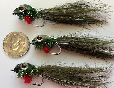 Bass, Salmon, Trout, Redfish Ultra Wog Chartreuse 6 flies Fly Fishing Flies