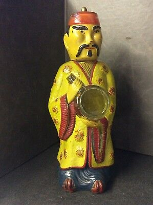 Antique Vintage Painted Clear Glass Chinese Man Figure Bottles Vgc