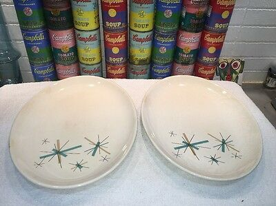 "(2) Rare Mid Century Modern North Star Oval Platters 13.25"" x 10"""