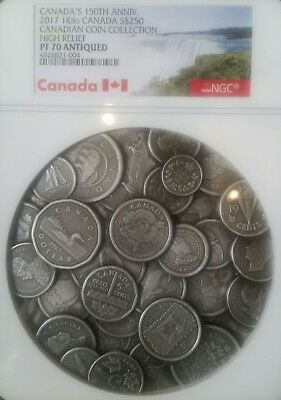 CANADA'S 150th ANNIV. 2017 1Kilo CANADA S$250 HIGH RELIEF NGC PR 70 ANTIQUED