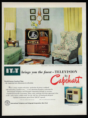 1950 Vintage Print Ad 50's CAPEHART TV television living room home image