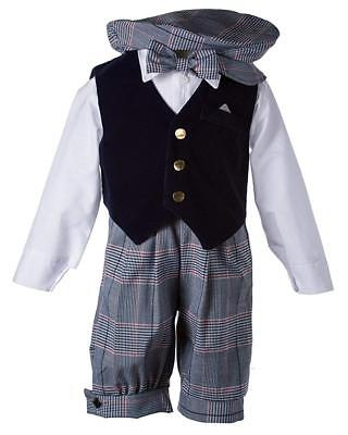 Toddlers Vintage Formal Outfit with a Navy Velvet Vest and Plaid Knickers 4