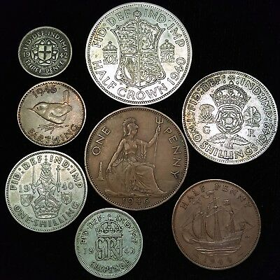 Great Britain George VI - 8 Coin Collection Includes 5 Silver Coins