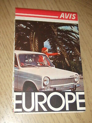 VINTAGE 1971 Avis Rent A Car Europe Europa Travel Highway Road Map Mileage Chart