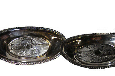 "SUPERB Large PAIR 6.75"" x 12"" SILVER Plated Serving PLATTERS Silverplate"
