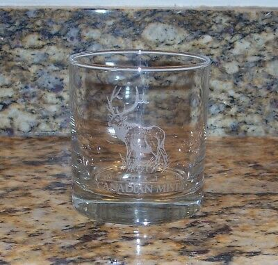 Canadian Mist Imported Whiskey Etched Elk Short Lowball Rocks Collectible Glass