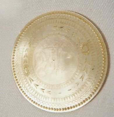 Antique Large Chinese Carved Mother Of pearl gaming token chip Owers Initials