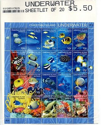 2004 Christmas Island mini-sheet of 20 underwater Sheetlet stamps MNH