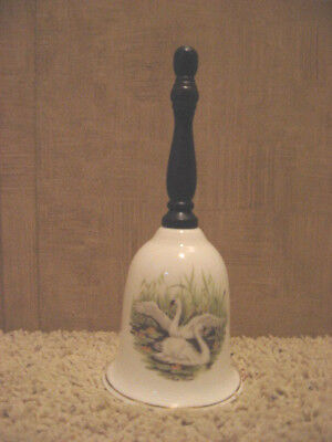 Vintage Retro 80's Bell with Wood Handle/ Fine Bone China - Swans - Mint