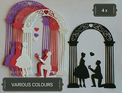 Lovers Engagement Arch Paper Die Cuts x4 Scrapbooking Card Topper Embellishment