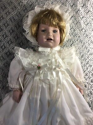 Franklin Heirloom Victorian Christening Porcelain Doll 51cm Tall As New Condit