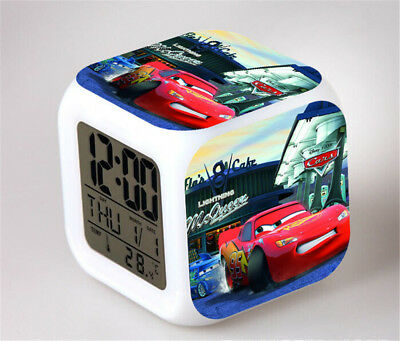 Cars 7 Color Change Alarm Clock LED Digital Glowing Night Light for Kids
