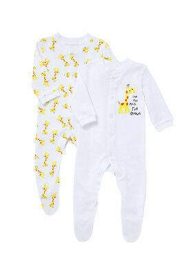 x2 Pack, All-In-One, Sleepsuit, Giraffe, Size 000, 0-3 Mths, 100% Cotton, BNew
