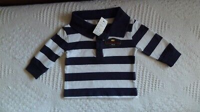 BNWT, Baby, Long-Sleeve,Striped, Polo Shirt, 100% Cotton, Navy, White, Size 0000