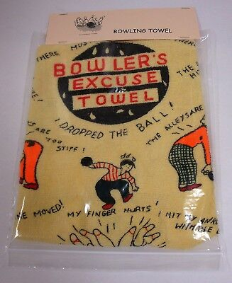1 Yellow Excuse Crying Fun Bowling Towel 38cm X 60cm Quick. High Skore
