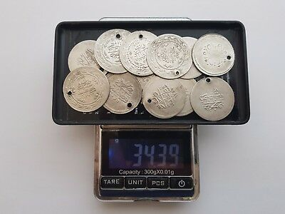 LOT 12pcs LARGE SILVER OTTOMAN TURKISH TURKEY ISLAMIC COINS VERY RARE 34.4gram