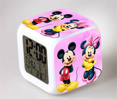 Minnie Mouse 7 Color Change Alarm Clock LED Digital Glowing Night Light